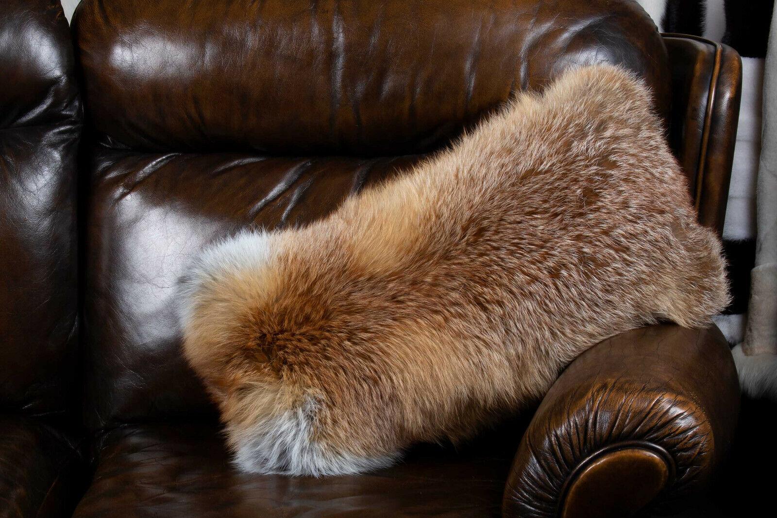 7647 European Red Fox Fur Cushion Real Fox Fur Genuine Fur Pillow Fox Bolster