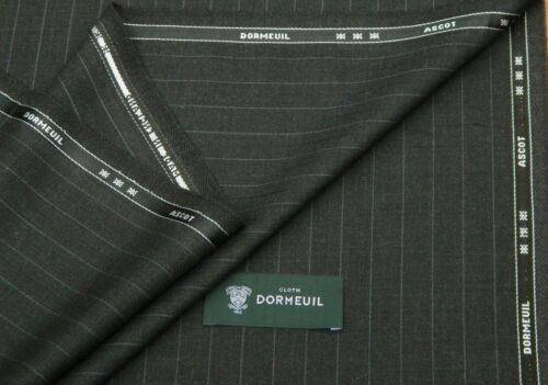 DORMEUIL /'ASCOT/' BROWN//CHARCOAL STRIPE WOOL SUITING FABRIC 3.5M MADE IN ENGLAND