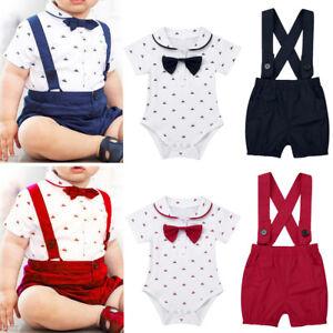 98eb76189844 Infant Baby Boy 2PCS Bow tie Romper T-Shirt+Bib Pants Overalls Party ...