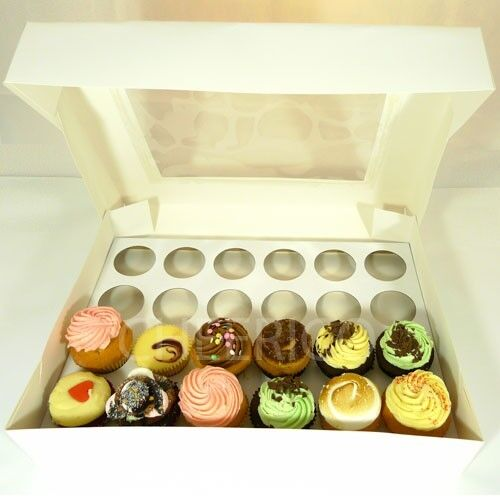 25 Counts of Window Weiß Cupcake Box with 24 Cupcake Holder( 3.90 Per Set)