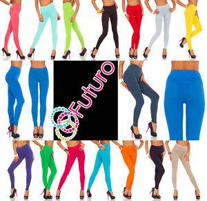 Leggings-lunghi-con-tasche-elasticizzato-vita-alta-Pantaloni-Taglie-8-20-lpk
