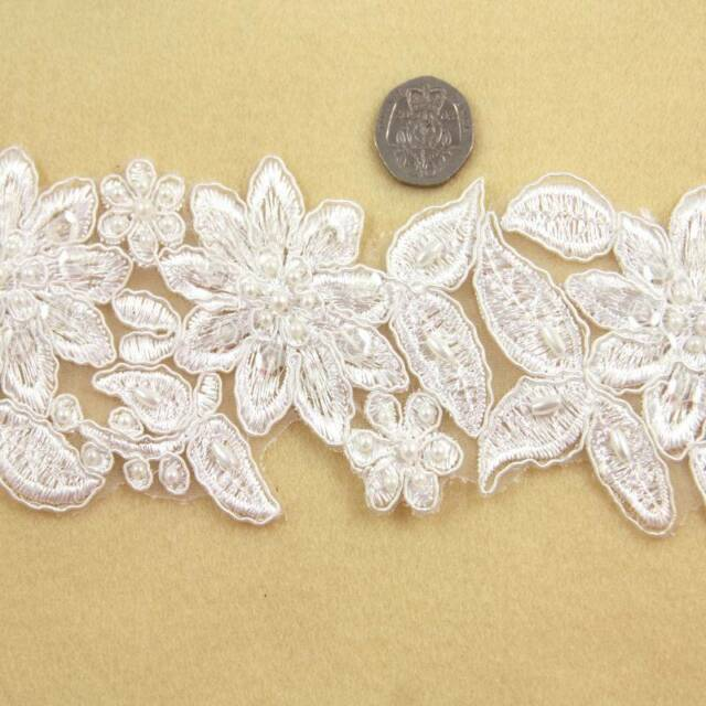 1 METRE CREAM / IVORY BEADED BRIDAL LACE 90mm WIDTH TRIM TRIMMING HL1392