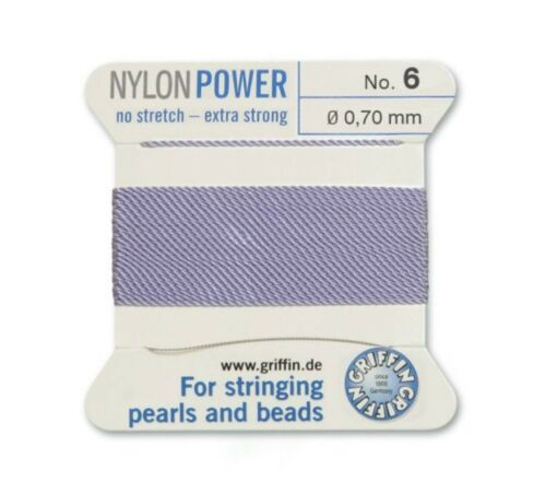 LILAC PURPLE NYLON POWER SILKY THREAD 0.70mm STRINGING PEARLS /& BEADS GRIFFIN 6