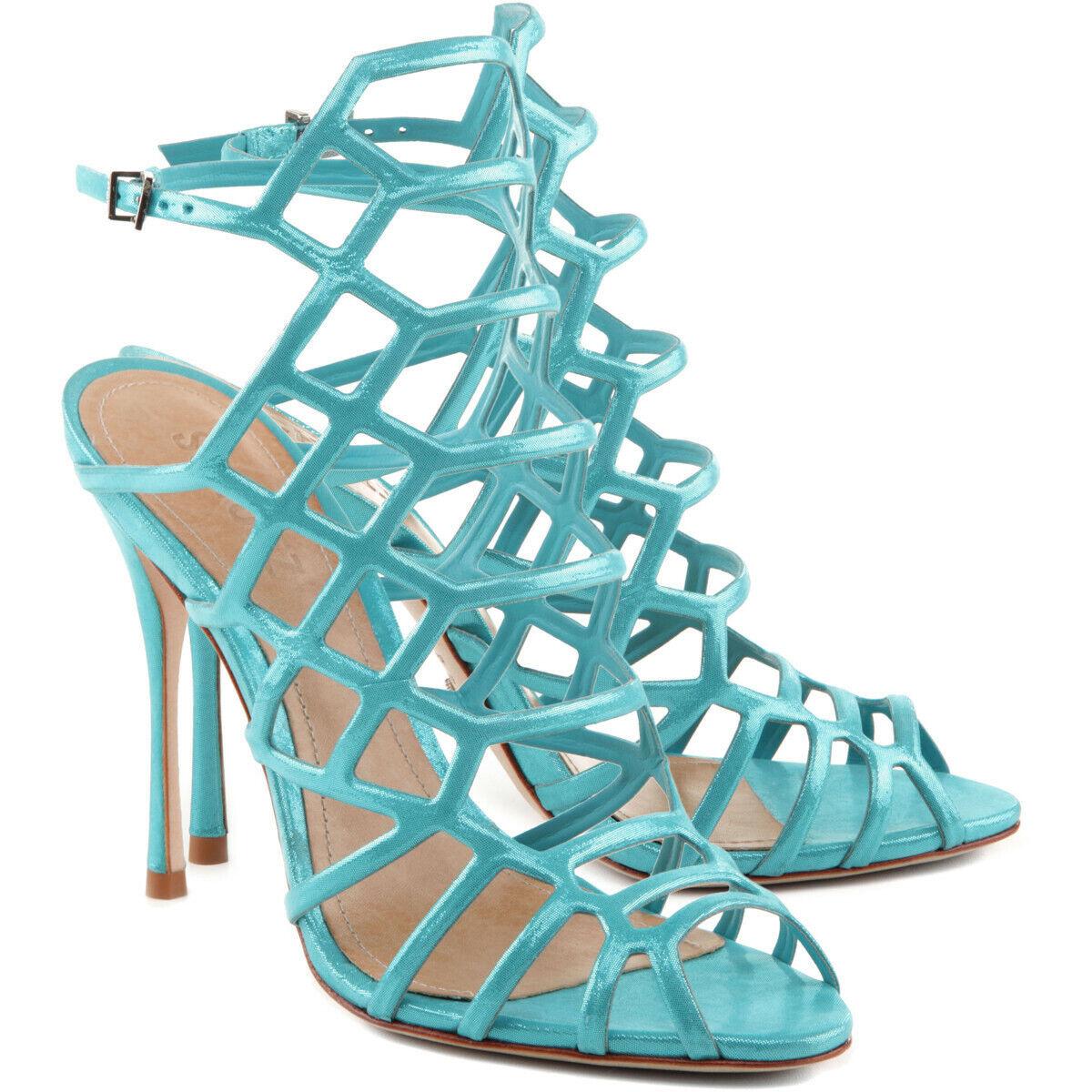 Schutz Juliana Dark Aqua blå Caged Single Sole HIgh Stiletto Heel Dress Sandal
