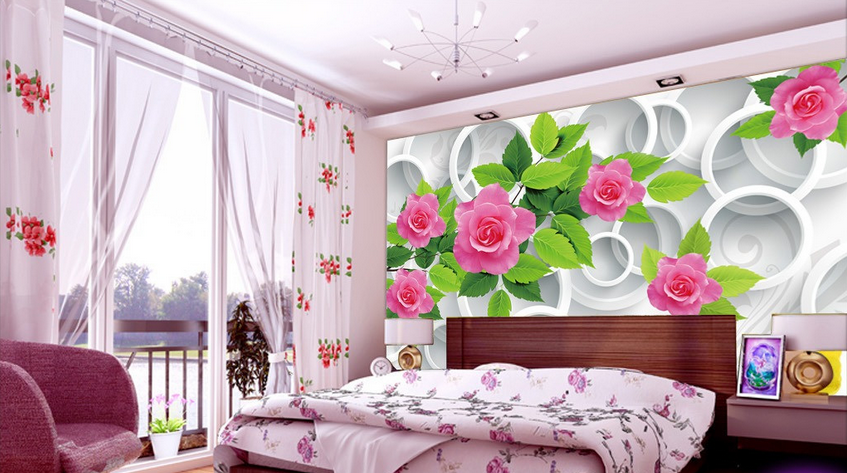 3D Flower Leaves 837 Wallpaper Mural Paper Wall Print Wallpaper Murals UK Lemon