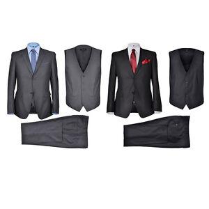Herren-Anzug-3Teiler-Slim-Sakko-Hose-Weste-Hochzeit-Smoking-Business