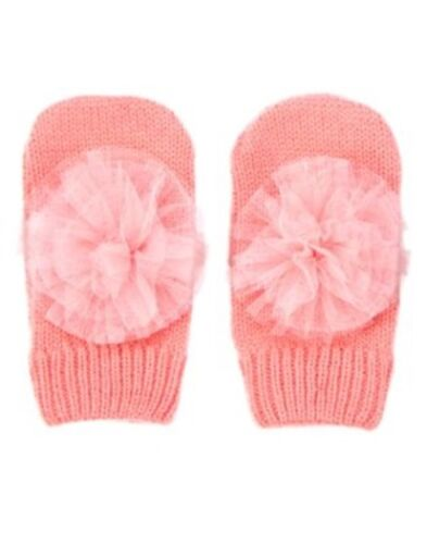 GYMBOREE SNOWFLAKE GLAMOUR CORAL w// PINK TULLE SWEATER MITTENS 12 24 2 3 4 5 NWT