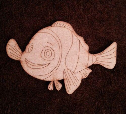 Pez Nemo De Madera De 3 mm de espesor de 100 mm de largo forma En Blanco