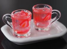 Dollhouse Miniatures 2 Cup of Fruity Strawberry Juice Punch Drink Beverage Food
