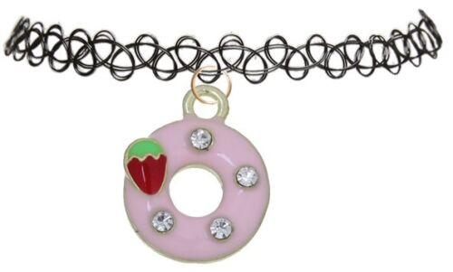 Llamativa Gargantilla Collar Colgante Rosa Stretch Tatuaje Henna Vintage encanto Cupcake Cachorro