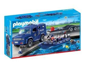 PLAYMOBIL-9396-Bundespolizei-Truck-Schnellboot-Boot-Polizei-Auto-City-Action