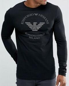 Emporio-Armani-Borgonuovo-039-11-Mens-Black-T-shirt-size-M-L-XL-Long-sleeve