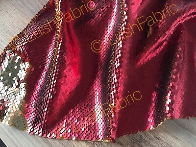 GOLD PINK Reversible 5mm Sequin Fabric Flip Two Tone Stretch Material 130cm wide