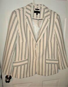 Talbots Aberdeen 16 White Navy Striped Textured 2-Button Blazer Jacket BRAND NEW