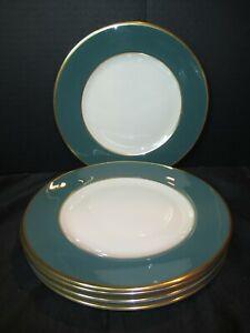 "Flintridge Anemone Teal Green Gold Trim 5 Salad Plates 8 1/2"" Scarce Design"