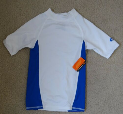 O/'RAGEOUS white//green or gray color block short sleeve swim Rash Guard,XS,2XS,S