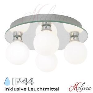 Deckenlampe Ø 25cm Badezimmer Badlampe Opalglas Silber Bad ...