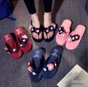 6a41db11fd2 Summer Women s Flowers Thong Slippers Wedge High Heels Platform Flip ...