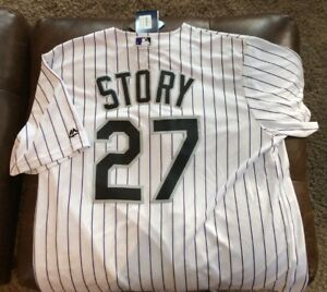 huge discount 4033b f55f6 Details about Trevor Story Brand New Jersey Colorado Rockies L Large NWT  #27 Home Pinstripe