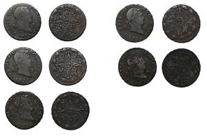 Lote de 5 Monedas de 2 Maravedis FERNANDO VII Años 1828-29-31-32 y 33 Segovia