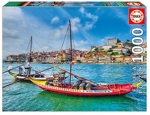 Puzzle-Educa-17196-Barcos-rabelos-1000-piezas-Oporto-Portugal-arte-teile
