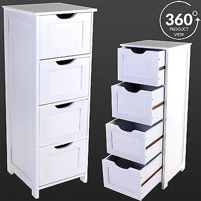 4 Drawer Bathroom Cabinet Cupboard Storage Wooden Unit Furniture Standing Chest