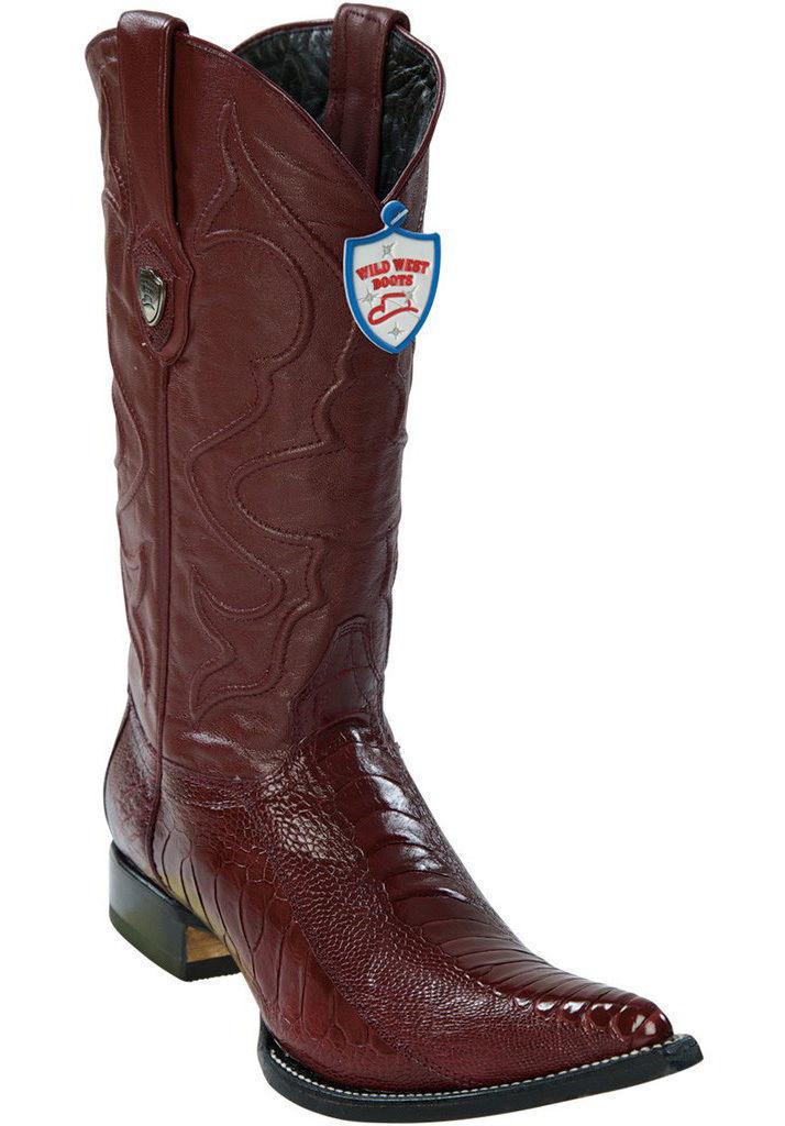 Wild West Borgoña 3X-TOE Genuino Avestruz pierna Western Cowboy bota (EE)