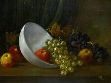 Gemälde von Monogrammist RL Früchte Stilleben Öl/Holz Künstler des 19. Jh.