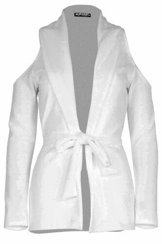 NUOVO Donne Ragazze freddo Tagliato Spalla Blazer con Cintura Cardigan Giacca Top UK 8-14