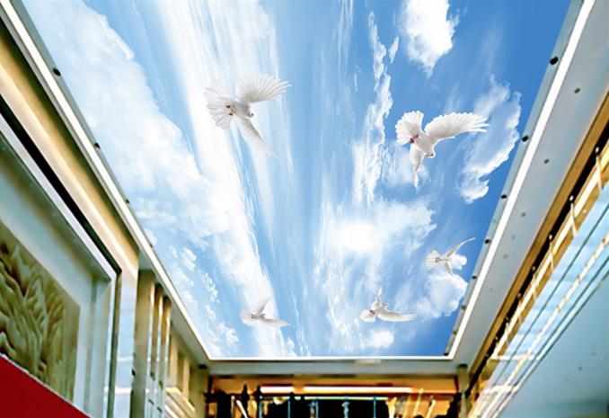 3D Sky Soar Pigeon 8 Ceiling WallPaper Murals Wall Print Decal Deco AJ WALLPAPER