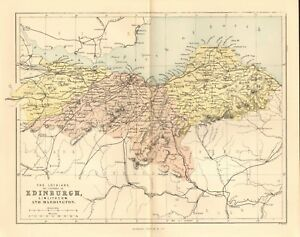 Details about original 1868 colour map of the lothians or counties of  edinburgh