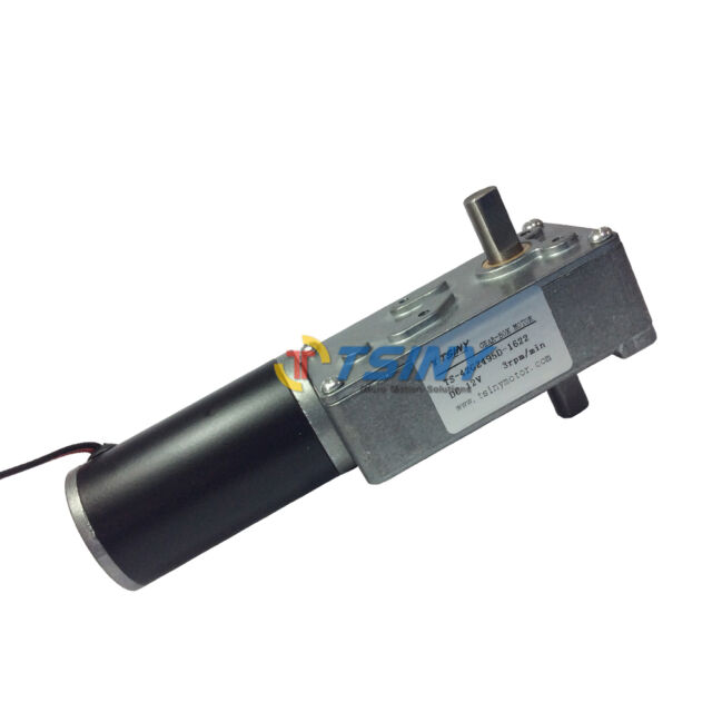 12Vdc 3rpm Low Speed Electric Gear Worm Motor with Double Dual Shaft output