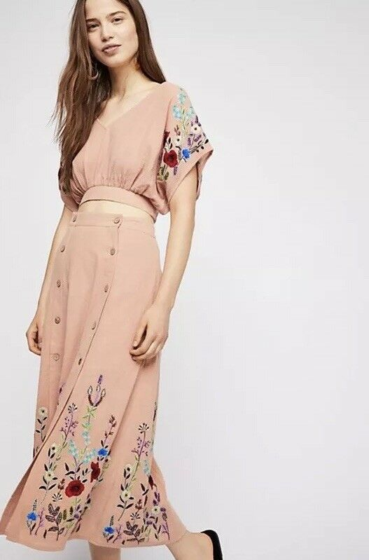 NEW Free People Sunny Stroll Set - Skirt & Top 2 Piece Dress Embroidered Floral