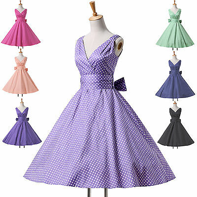 ❤UK SALE❤CHEAP 50s 60s Vintage Swing Cocktail Party Housewife Dresses