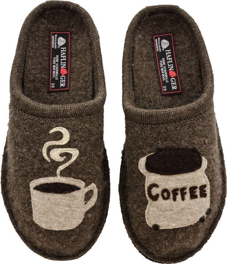 HAFLINGER UNISEX COFFEE COMFY COZY INDOOR WOOL SLIPPERS