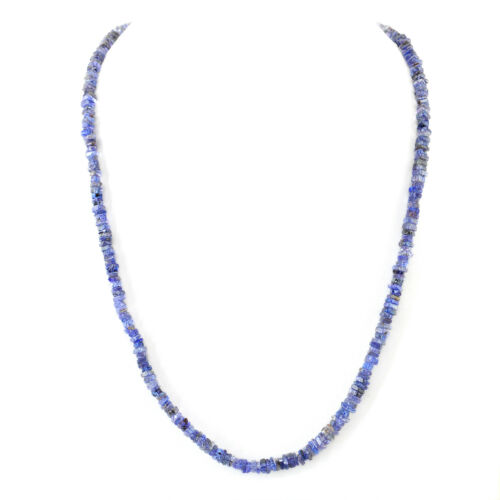 Genuine 81.50 Cts Earth Mined Blue Tanzanite Untreated Beads Hand Made Necklace