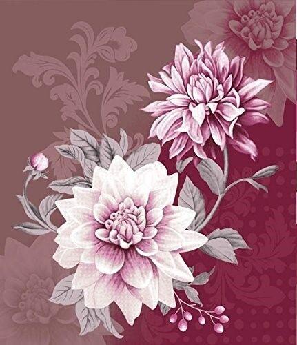 Plush HEAVY Queen 3D Luxury BLOOMING DAHLIA Faux Mink FLOWER Blanket 79  x 96