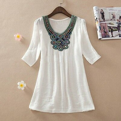 2015spring women Embroidered beading cotton loose blouse top  XL-3XL