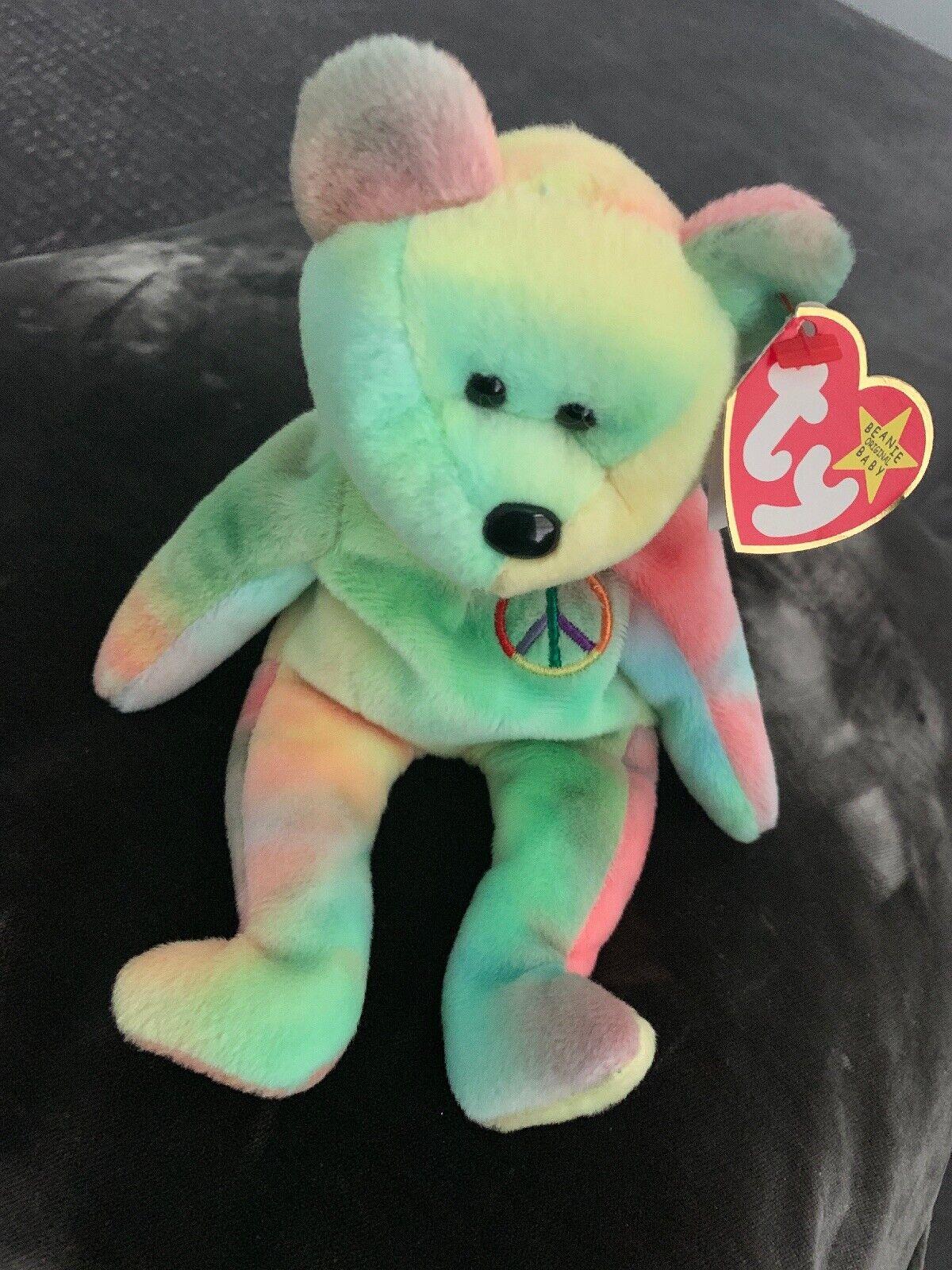 1996 Ty PEACE BEAR Beanie Baby AUTHENTIC RARITIES, ERRORS, (KR) WATERMARK 112
