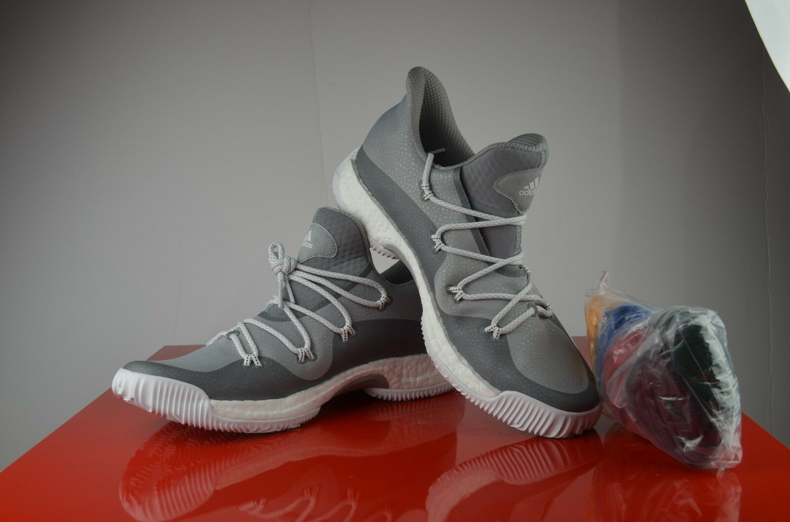 ADIDAS CRAZY EXPLOSIVE LOW PRIMEKNIT WHITE BASKETBALL SHOES MENS sz12.5 BY3254
