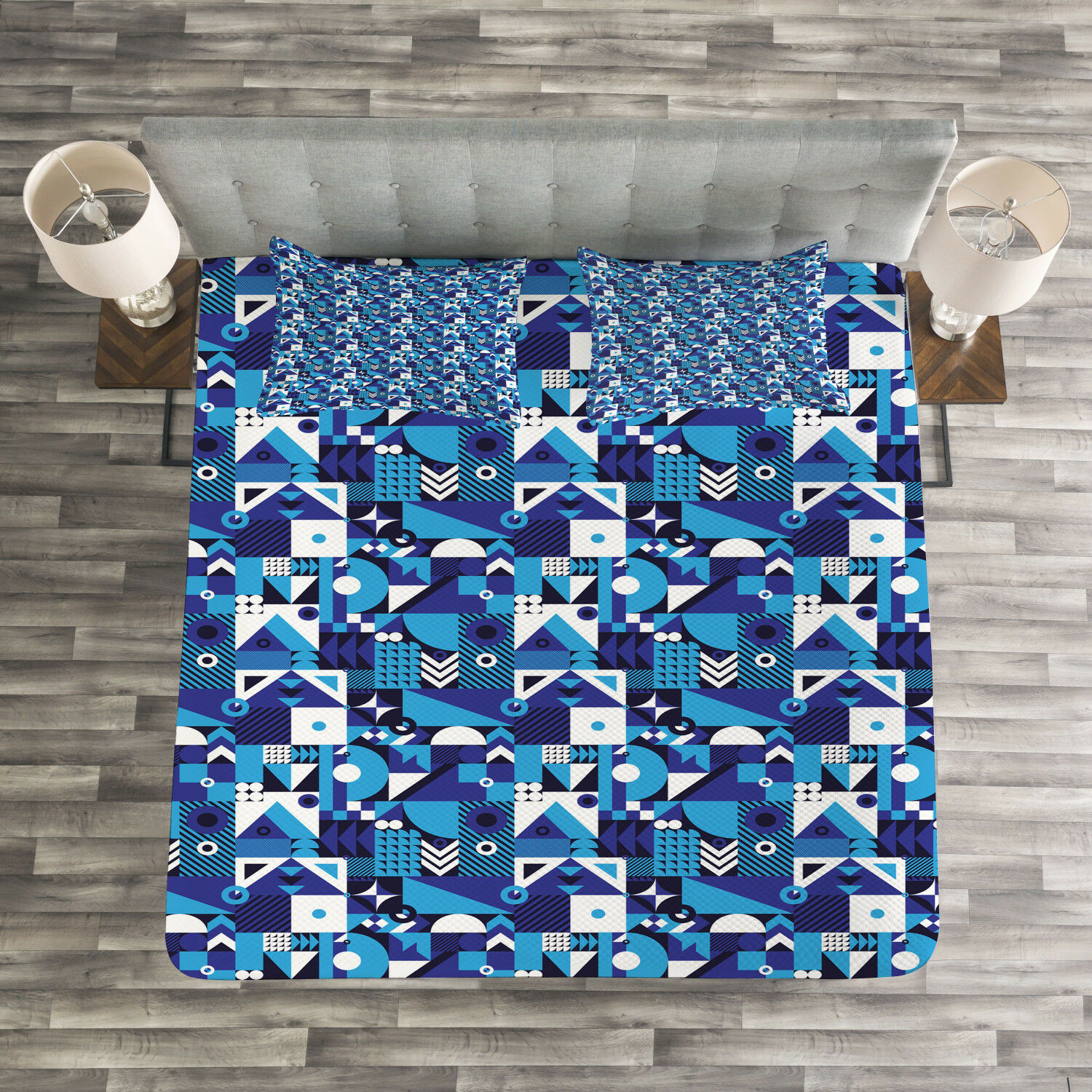 Navy bluee Quilted Bedspread & Pillow Shams Set, Contemporary Abstract Print