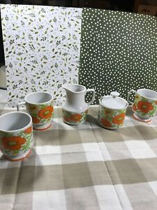 Poppy-Sugar-Bowl-And-Creamer-With-3-Porcelain-Cups-Made-In-Japan