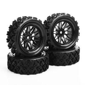 4Pcs-Rally-Tires-amp-Wheel-Rim-12mm-Hex-For-HSP-HPI-RC-1-10-Off-Road-Model-Car-Tyres