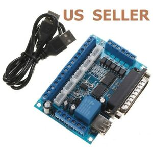 5 Axis CNC Interface Adapter Breakout Board For Stepper Motor Driver Mach3 W/USB 769700308136