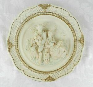 Alexander-Backer-Chalkware-Wall-Hanging-Plaque-Victorian-Figures-3D-Vintage-MCM