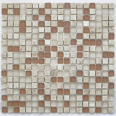SAMPLE. Light Brown Small Glass and Stone Mosaic Tile for Bathroom, Backsplash