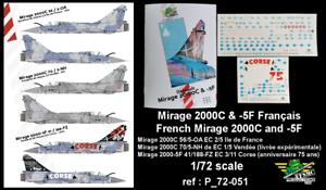 ref P/_72-051 FFSMC Productions 5F Français Decals 1//72 Mirage 2000C et