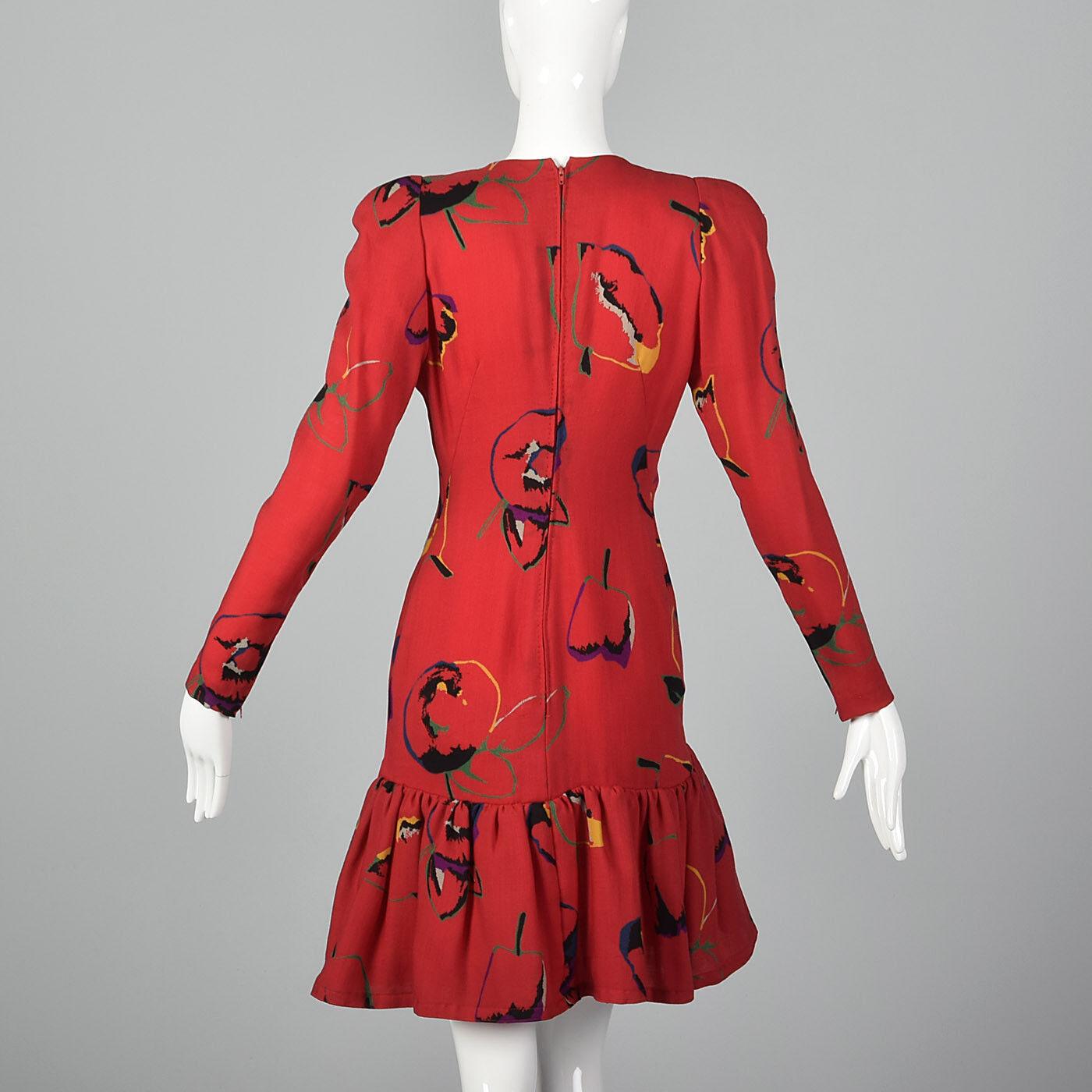 S 1980s Pauline Trigere Long Sleeve Red Dress Dro… - image 2