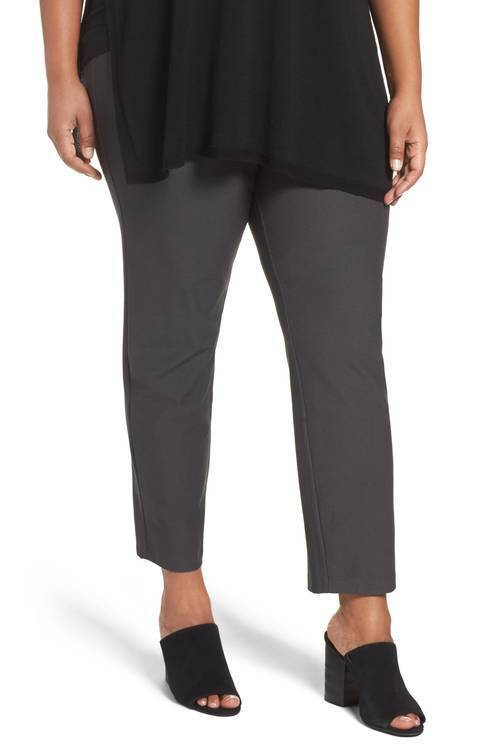 Plus 1X  Women's Eileen Fisher Bark Slim Washable Stretch Crep Ankle Pants  178