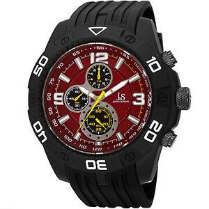 Men-039-s-Joshua-amp-Sons-JS92RD-Quartz-Chronograph-Tachymeter-Black-Silicone-Watch